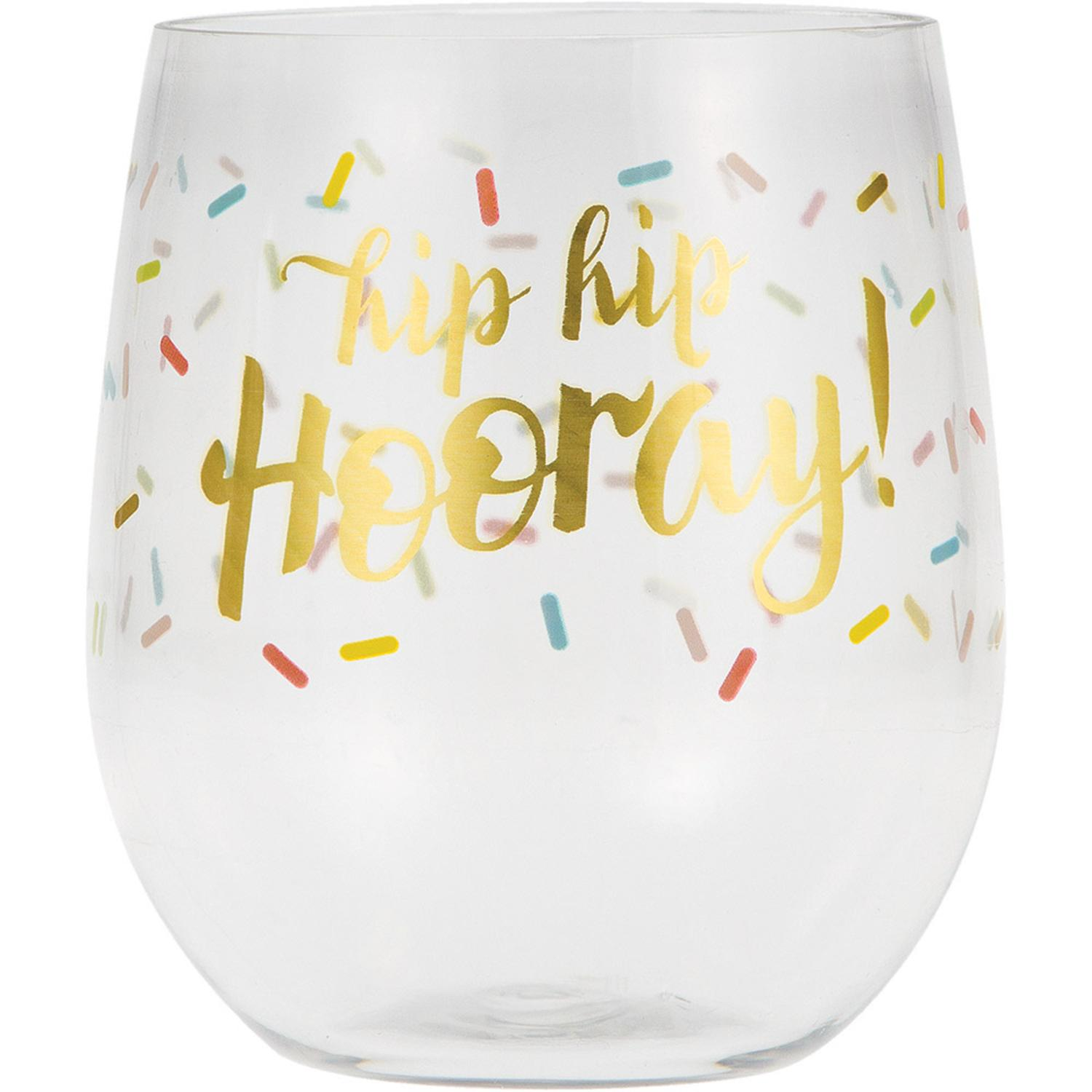 """Pack of 6 White """"Hip Hip Hooray"""" Printed Stemless Reusable 14 oz Wine Glasses 3.9"""""""