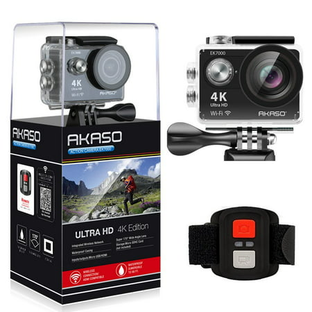 AKASO 4K WIFI Sports Action Camera Ultra HD Waterproof DV Camcorder 12MP 170 Degree Wide Angle, Black (Nylon Camcorders)