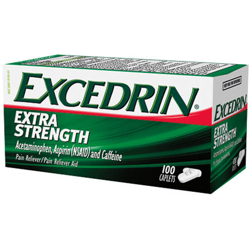 Excedrin Pain Reliever Aid Acetaminophen Caplets Extra Strength, 100 Count