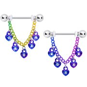 "Body Candy 14G Women Nipplerings Piercing 316L Steel 2Pc Rainbow Padlock Heart Dangle Nipple Ring Set 11/16"""