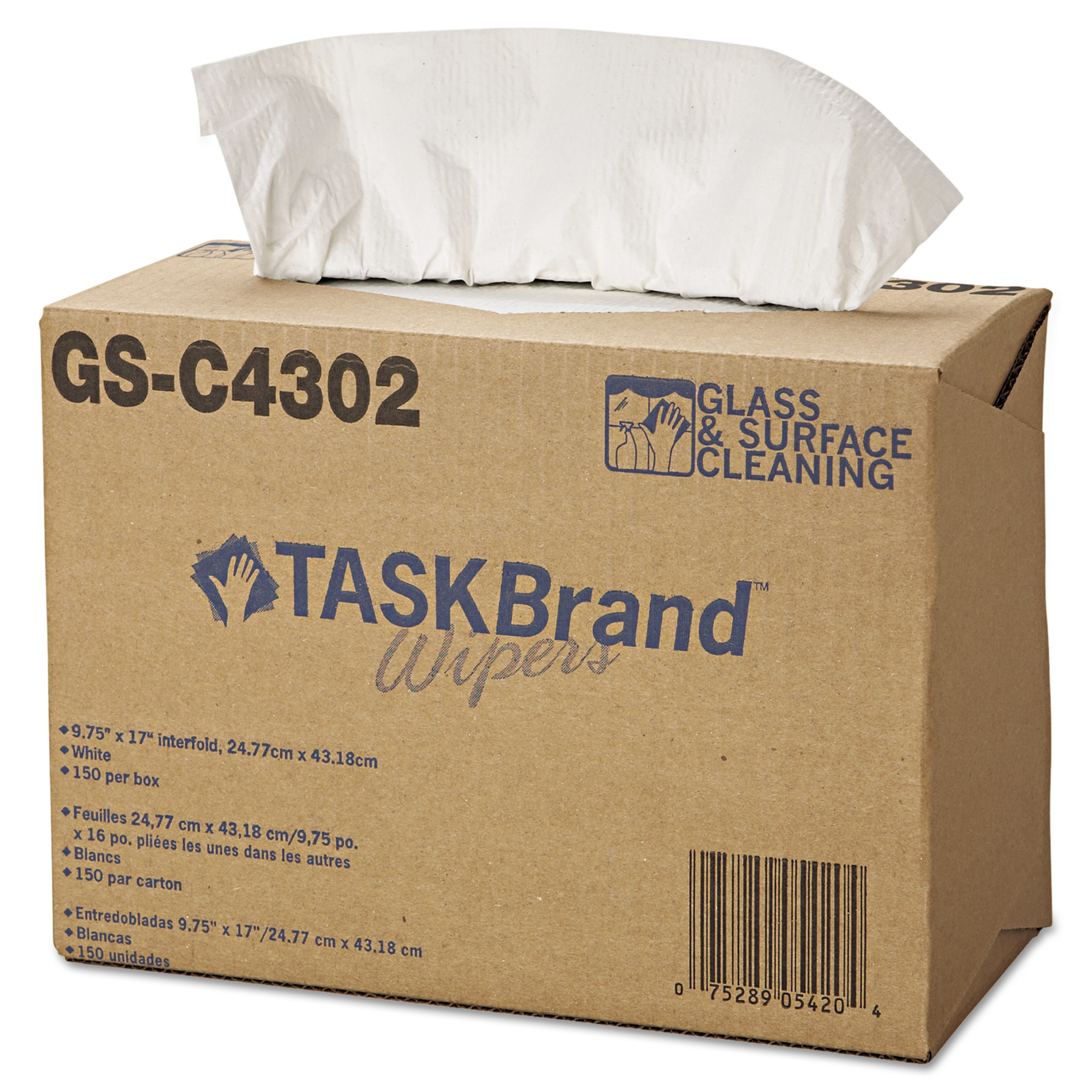 HOSPECO TASKBrand Glass & Surface Wipers, 4Ply, 9.75 x 16.75, White, 150/Box, 6 BX/Ct