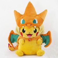 New Pokemon Pikachu With Charizard hat Plush Soft Toy Stuffed Animal Doll 9in Open Mouth
