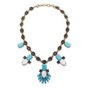 Blue and White Crystal and Lucite Statement Necklace with Bezel-Set Chain in Antique Gold Tone