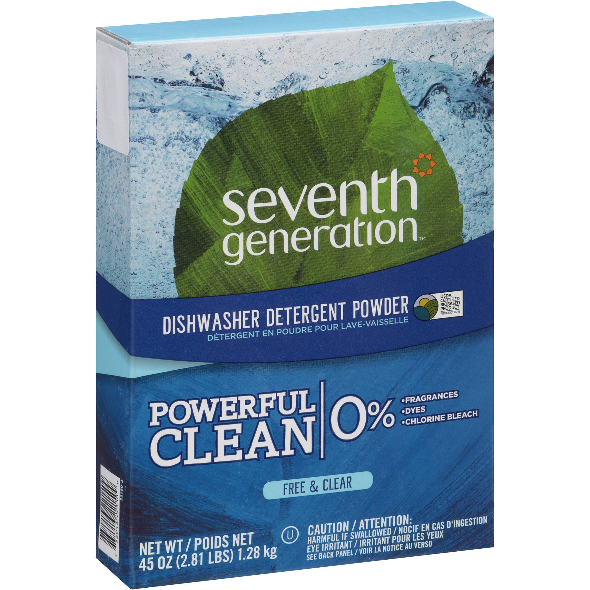 Seventh Generation Free & Clear Dishwasher Detergent Powder, 45 oz