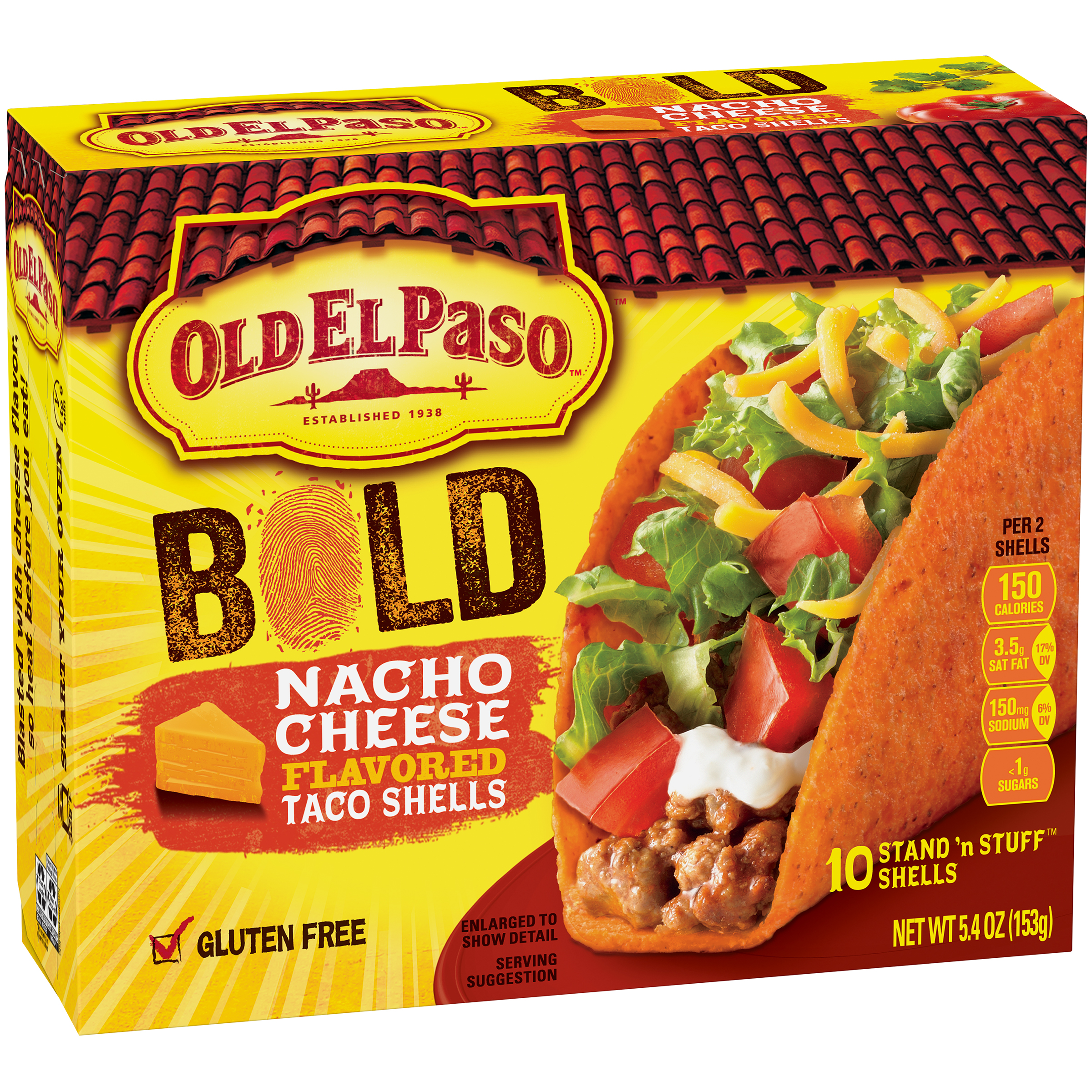 Old El Paso��� Stand 'n Stuff��� Bold Nacho Cheese Flavored Taco Shells 10 ct Box