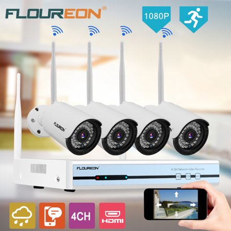 Floureon 4CH Wireless CCTV 1080P DVR Kit, Outdoor Wifi WLAN 720P IP Camera Security Video Recorder NVR