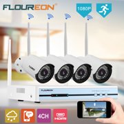 Floureon 4CH Wifi CCTV 1080P DVR Kit, Outdoor Wifi WLAN 720P IP Camera Security Video Recorder NVR System