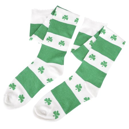 Rinco St Patrick's Day Shamrocks Knee-High Socks, Green White, Adult Size