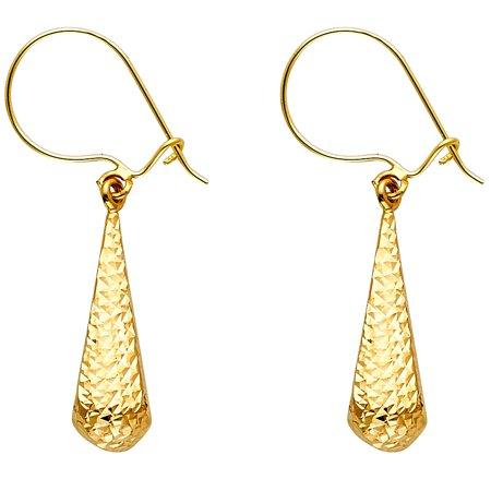 14K Yellow Gold Teardrop Dangle Earrings Hollow Diamond Cut Fancy Fashion Genuine 25 X 6 Mm