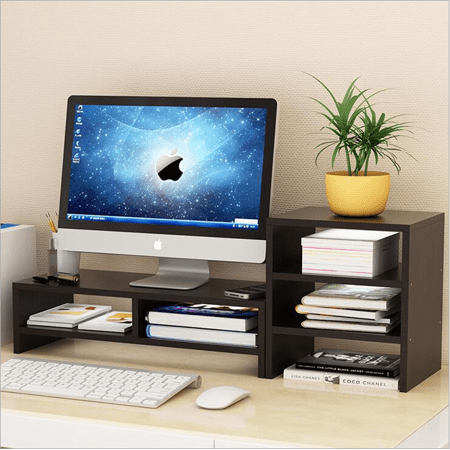 Desktop Monitor Stand LCD TV Laptop Rack Computer Screen Riser Shelf Platform Office Desk Black