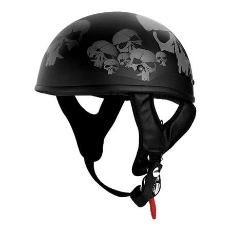 Snell Half Helmets - Half Motorcycle Helmet Matte Black Skulls