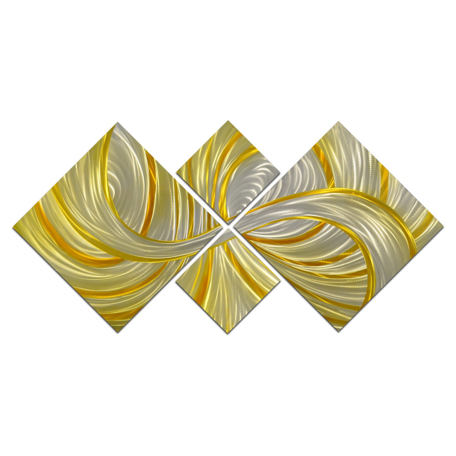 OMAX Deceptive Golden Curls Handmade Modern Metal Wall Art - Set of 4