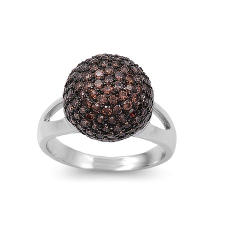 Micro Pave Ball Center Champagne Cubic Zirconia Ring Sterling Silver 925