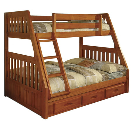 American Furniture Classics Model 2118-TFH, Solid Pine Mission Staircase Twin/Full Bunk Bed with Three Drawers in Honey