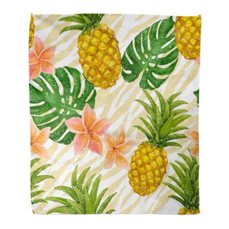 Orange Tropical Fruit - ASHLEIGH Throw Blanket 50x60 Inches Orange Fruit with Pineapple and Tropic Flowers in Colorful Tropical Passion Bananas Warm Flannel Soft Blanket for Couch Sofa Bed
