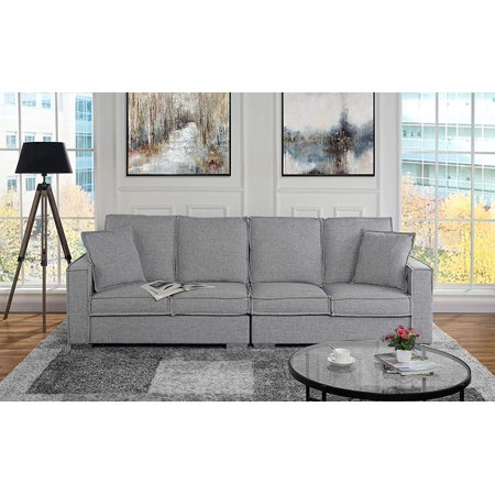 Extra Large Living Room Linen Fabric Sofa, 4 Seat Couch (Light Grey)
