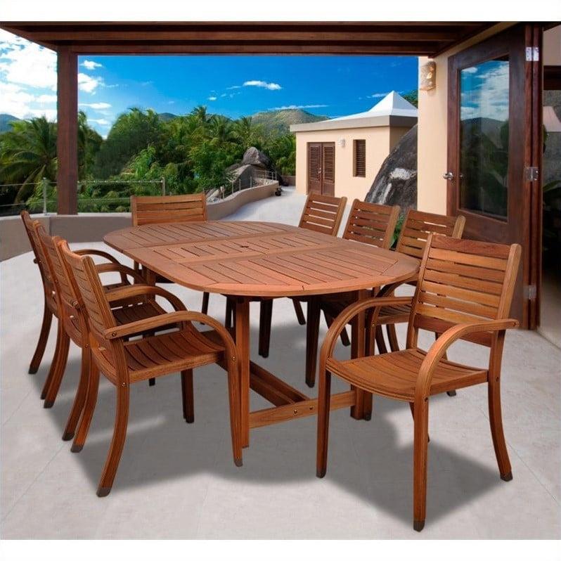 Arizona 9-Piece Eucalyptus Extendable Oval Patio Dining Set