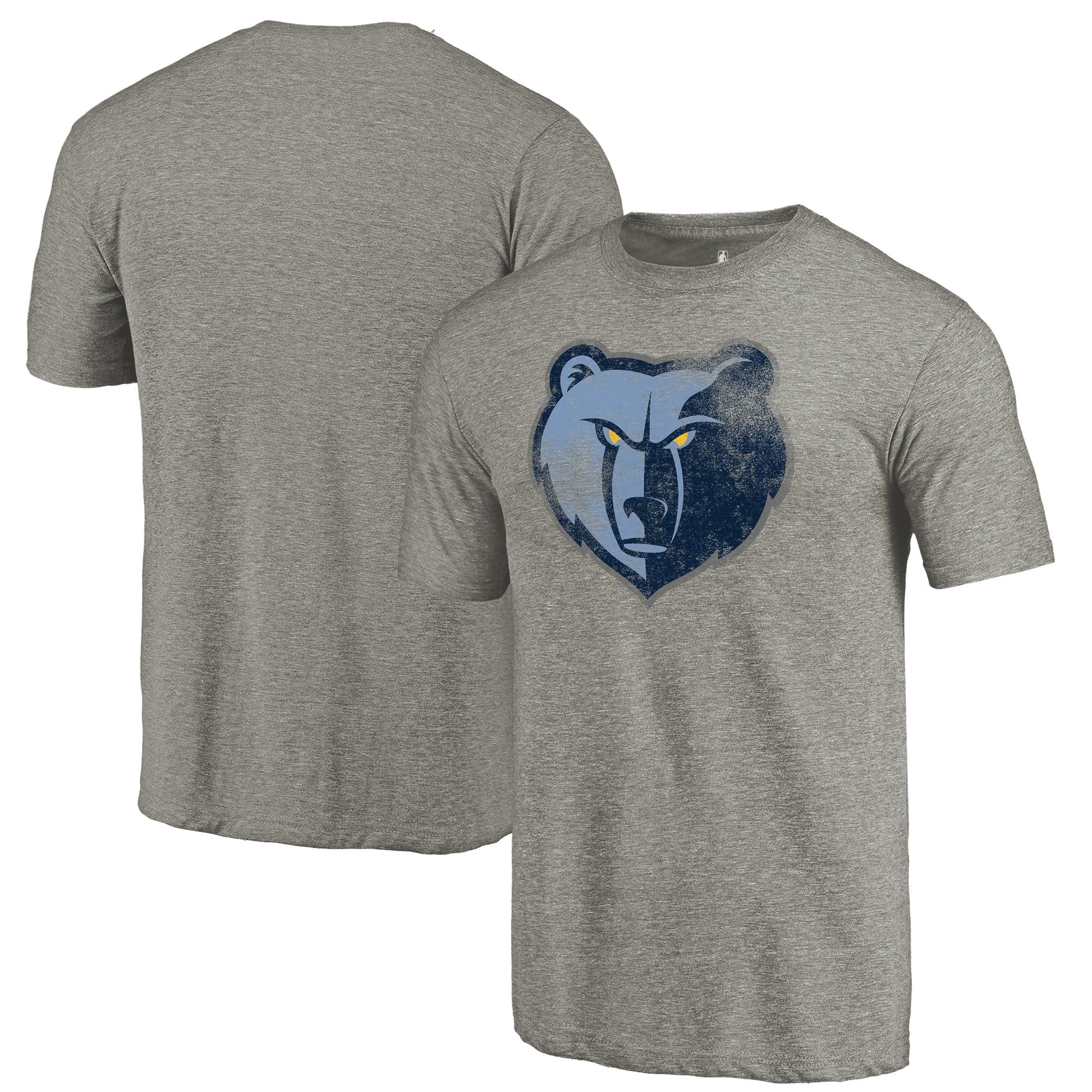Memphis Grizzlies Fanatics Branded Distressed Team Logo Tri-Blend T-Shirt - Heather Gray