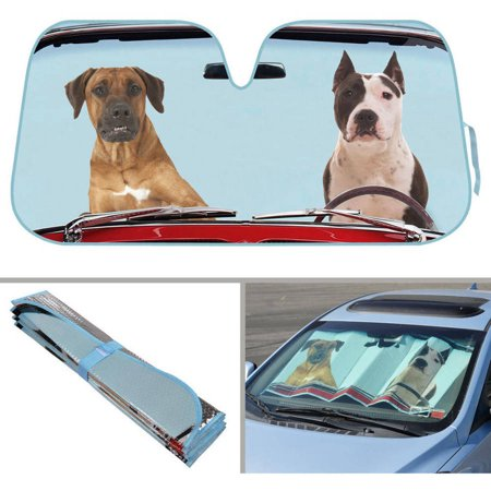 BDK Two Dogs Design Auto Auto Shade for Car SUV Truck, Pet Pals, Double Bubble Foil Jumbo Folding Accordion for - Suv Windshield