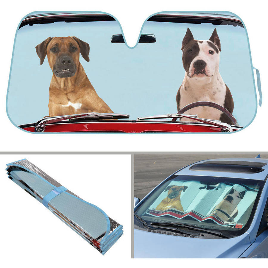 BDK Two Dogs Design Auto Auto Shade for Car SUV Truck, Pet Pals, Double Bubble Foil Jumbo Folding Accordion for Windshield