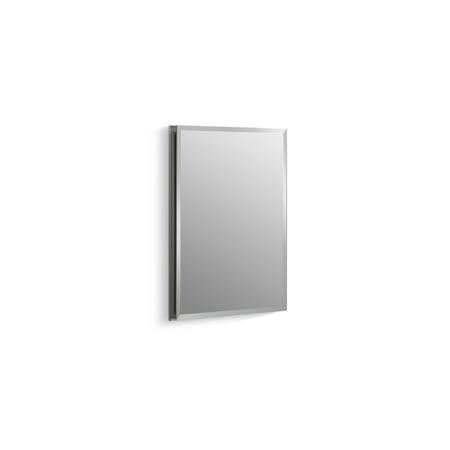 """Kohler 16"""" W X 20"""" H Aluminum Single-Door Medicine Cabinet with Mirrored Door, Beveled Edges"""