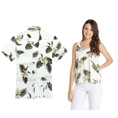 Couple Matching Hawaiian Luau Outfit Aloha Shirt and Tank Top in Palm Green in White Men 2XL Women L - Homecoming Couples Outfits
