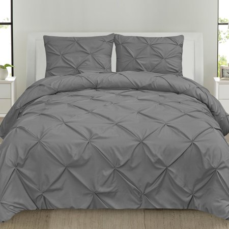 Jacquard Duvet Set (Luxury 3 Piece Pinch Pleat Pintuck Polyester Duvet Cover and Pillow Sham Set, Queen Grey)