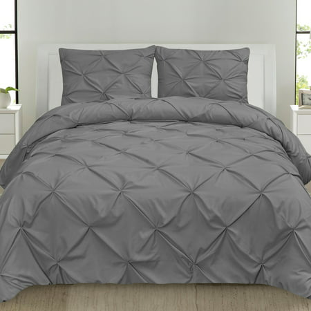 Luxury 3 Piece Pinch Pleat Pintuck Duvet Cover and Pillow Sham Set, Queen Grey