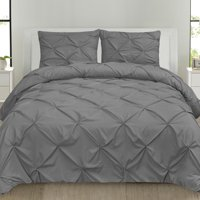 Luxury 3 Piece Pinch Pleat Pintuck Microfiber Duvet Cover and Pillow Sham Set