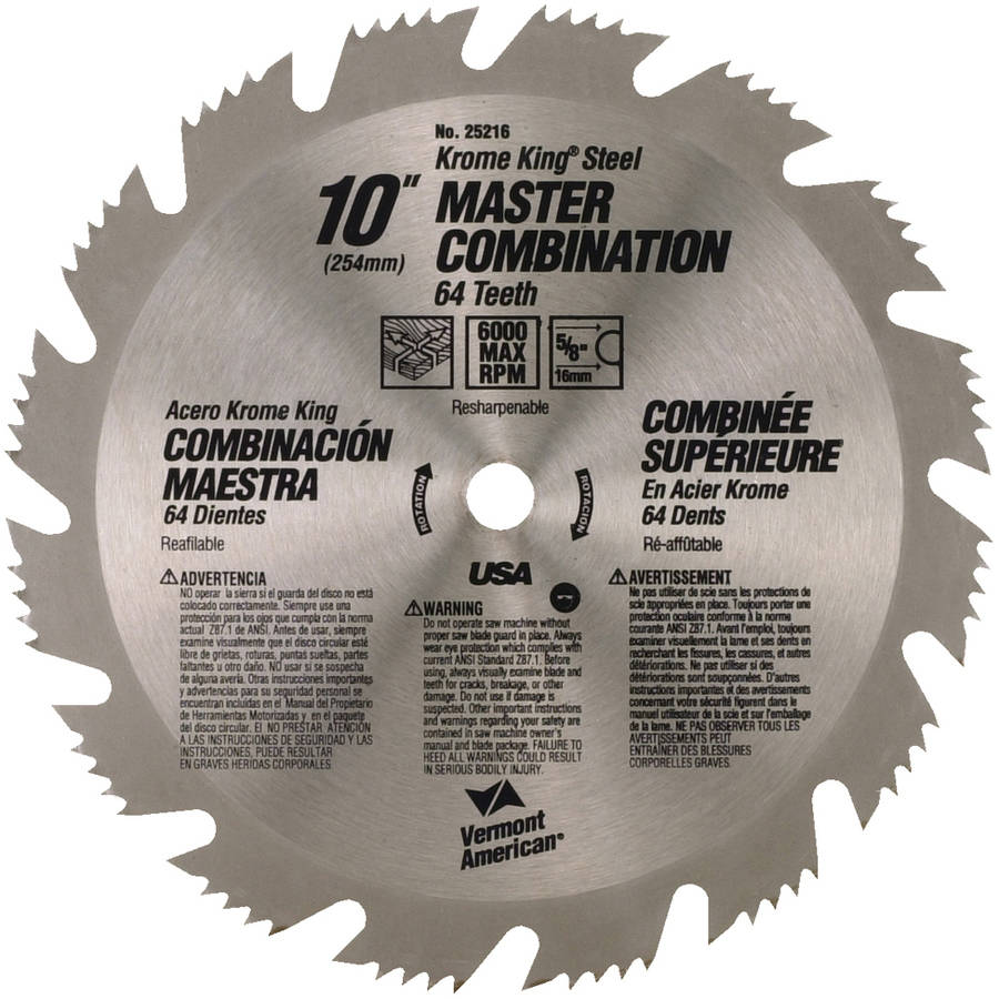 """Vermont American 25216 10""""64T Krome King Master Combination Circular Saw Blade"""