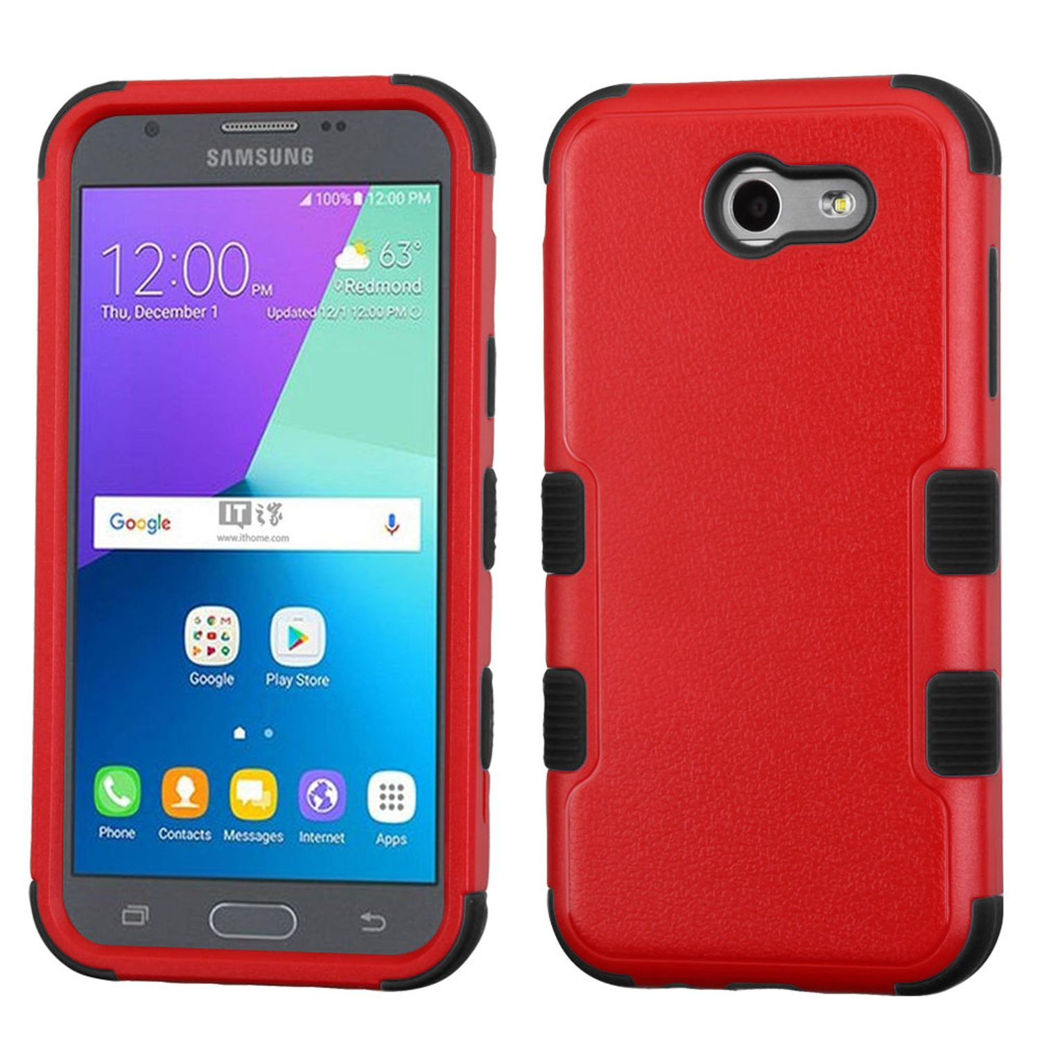 Samsung Galaxy J3 2017 Case Galaxy J3 Luna Pro case by Insten Tuff Dual Layer [Shock Absorbing] Hybrid Rubberized Hard Plastic/Silicone Case Cover For Samsung Galaxy J3 Luna Pro J3 Emerge J3 2017