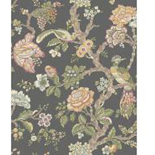 Waverly Classics Casa Blanca Rose Wallpaper, Darkest Green/Purple/Beige/Eggshell/Mustard/Aqua/Sage/Cocoa