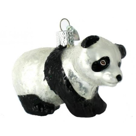 Cubs Christmas Ornament (Old World Christmas Panda Cub Glass Blown Ornament)