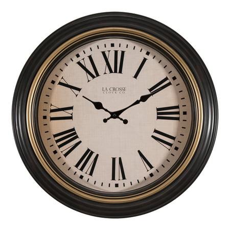 Brown Display Clock (La Crosse Clock 404-3045BK 18 Inch Traditions Antique Brown Quartz Wall Clock)