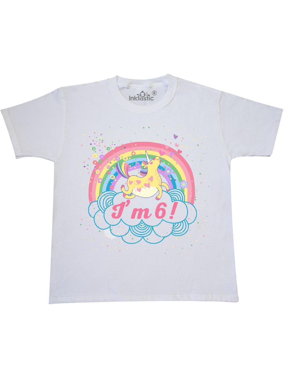 6th Birthday Unicorn Rainbow Girls Youth T-Shirt