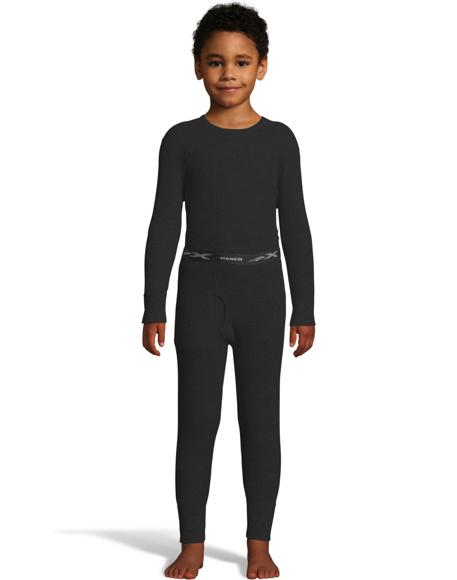 Hanes Boys Waffle Knit Thermal Set, XS, Black