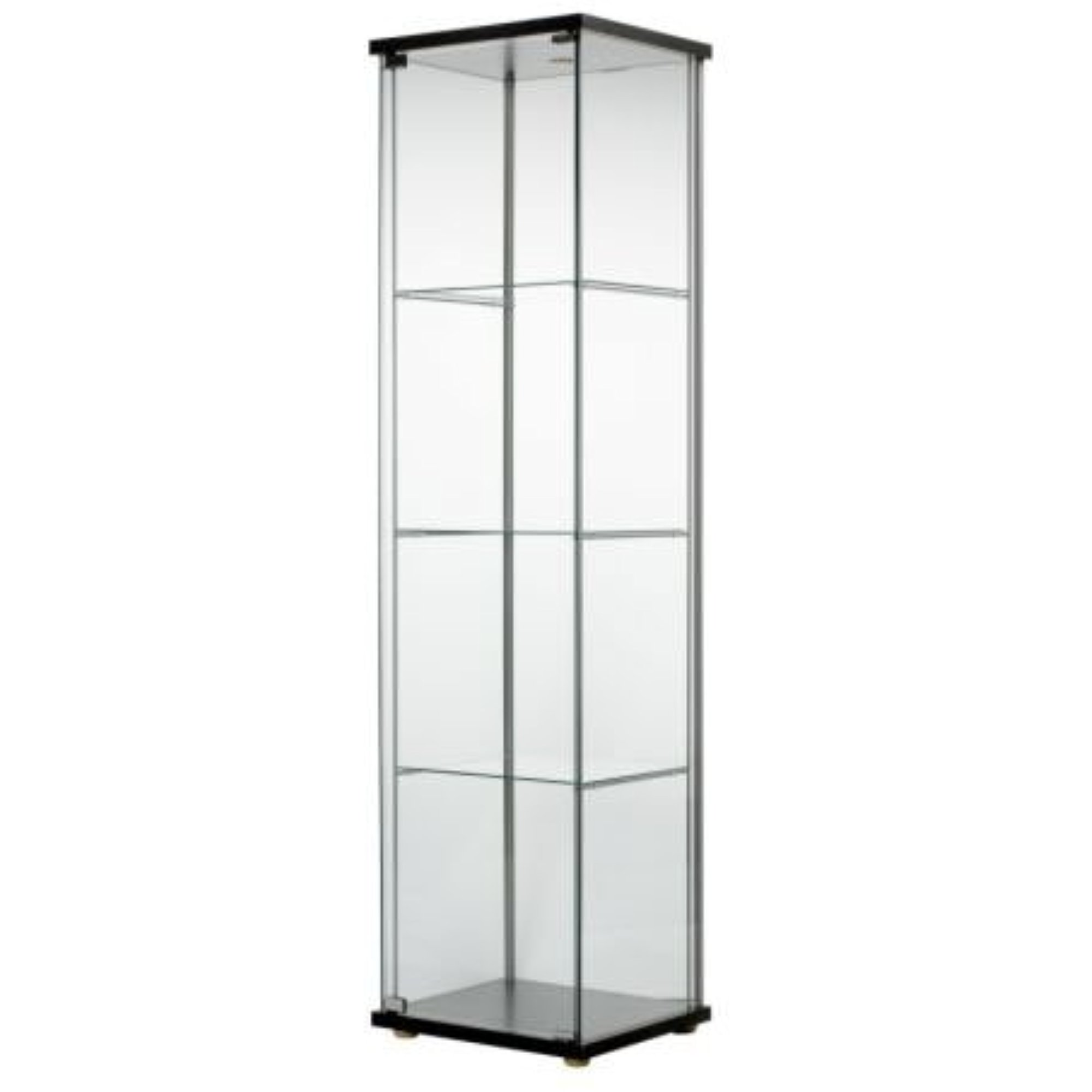 Ikea Detolf Glass Curio Display Cabinet Black , Light Is Included  626.5298.214