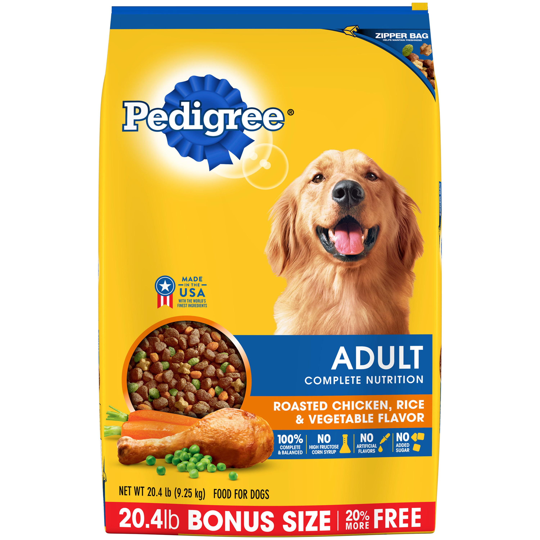PEDIGREE Adult Complete Nutrition Dry Dog Food, Roasted Chicken, Rice & Vegetable Flavor, 20.4 Lb