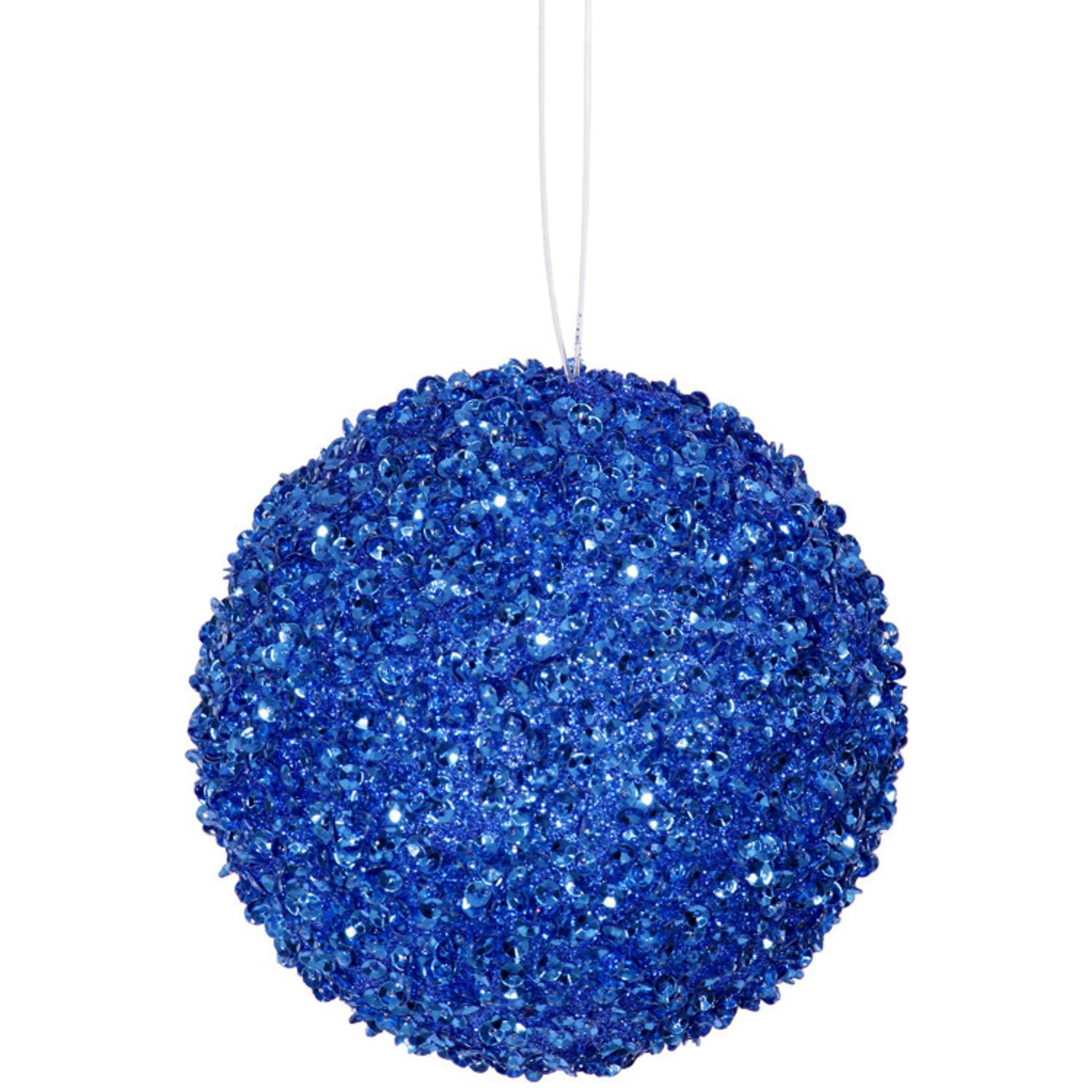 "6ct Cobalt Blue Sequin and Glitter Drenched Christmas Ball Ornaments 3"" (80mm)"