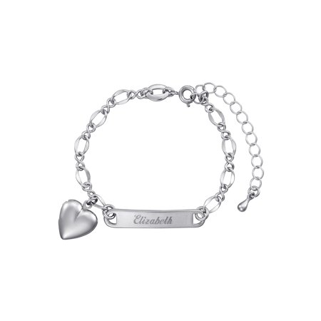 Personalized Silver-Plated Girls' Heart Charm Bracelet - Personalized Slap Bracelets