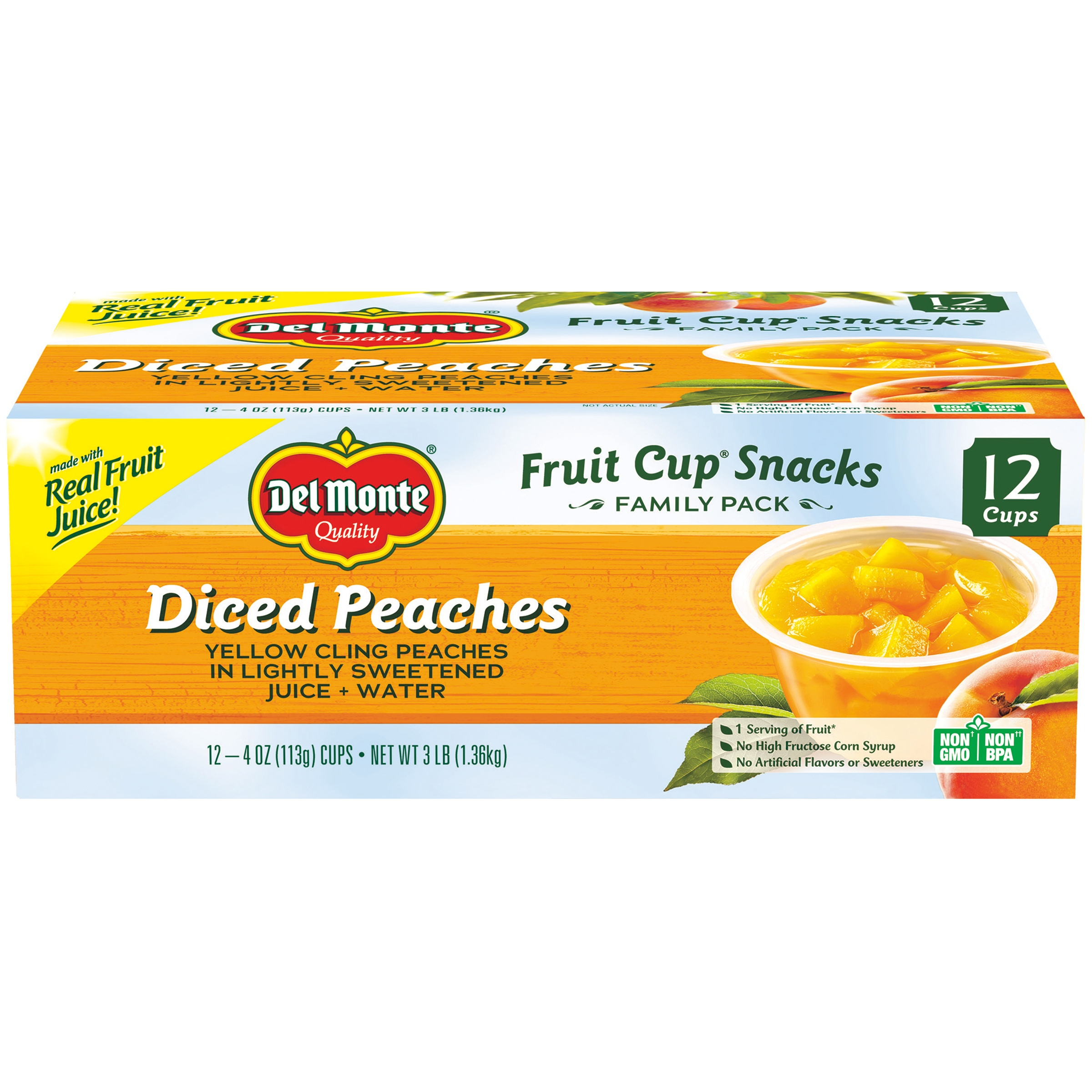 (12 Cups) Del Monte Fruit Cup Snacks Diced Peaches, 4 oz cups