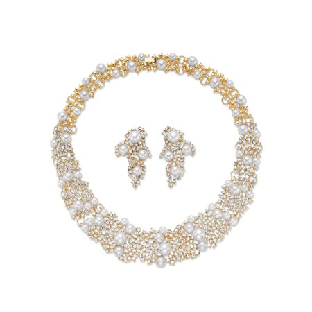 Simulated Pearl and Crystal 2-Piece Cluster Earring and Collar Necklace Set in Gold Tone 16