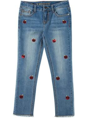 Vigoss Big Girls Sequin Apple Denim Ankle Jeans 16W Short