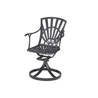 Bowery Hill Swivel Patio Dining Chair in Charcoal