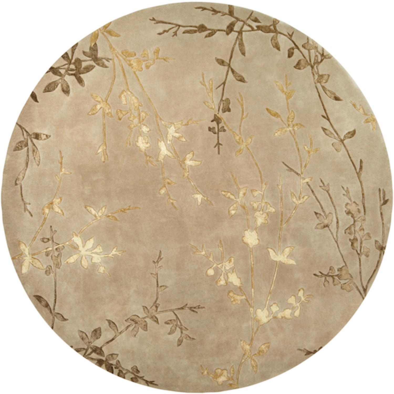 8' Asian Autumn Branch Gold and Mustard Wool Round Area Throw Rug