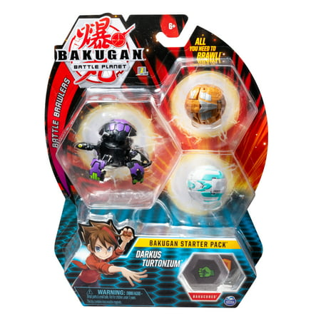 - Bakugan Starter Pack 3-Pack, Darkus Turtonium, Collectible Action Figures, for Ages 6 and Up
