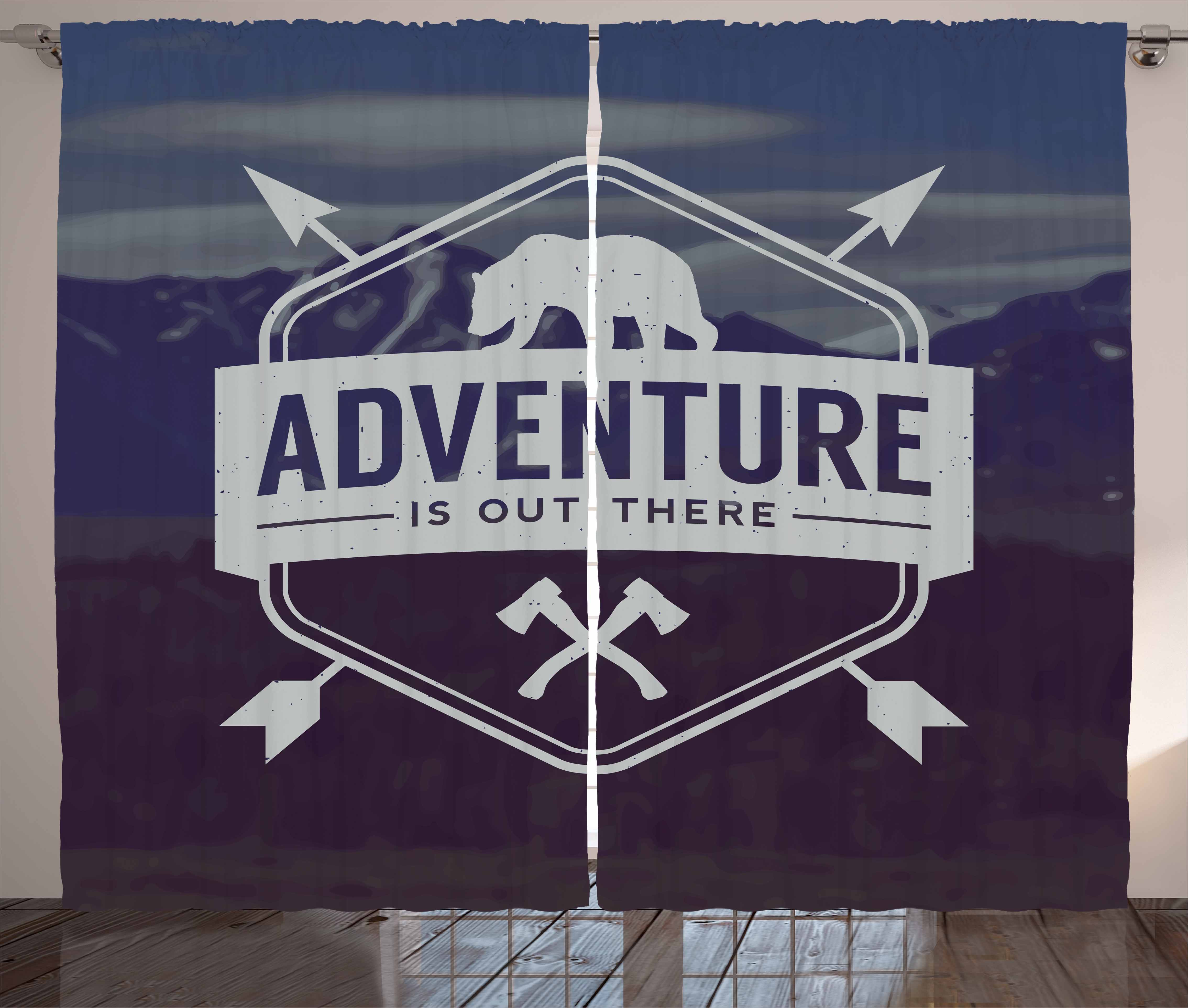 Adventure Curtains 2 Panels Set, Adventure Logo with a Motivational Quote Hatchets and Bear Mountain... by Kozmos