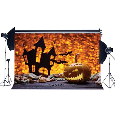 ABPHOTO Polyester 7x5ft Photography Backdrops Halloween Horror Night Bokeh Halos Glitter Spots Pumpkin Scene Seamless Newborn Baby Adults Masquerade Portraits Photo Background Photo Studio Props - Halo Halloween Pumpkin
