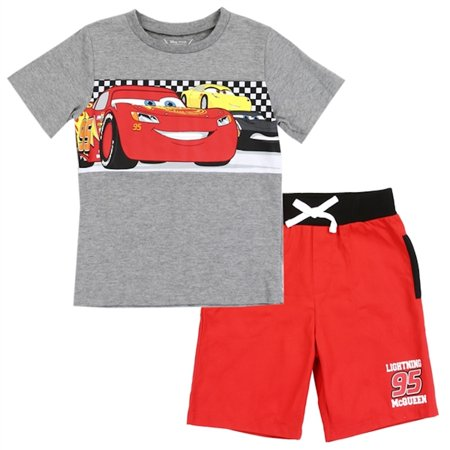 Disney Cars Toddler Boys' Lightning McQueen 2PC Tee & Short Set - Red/Grey - Sizes 3t, 4T & 5T ()