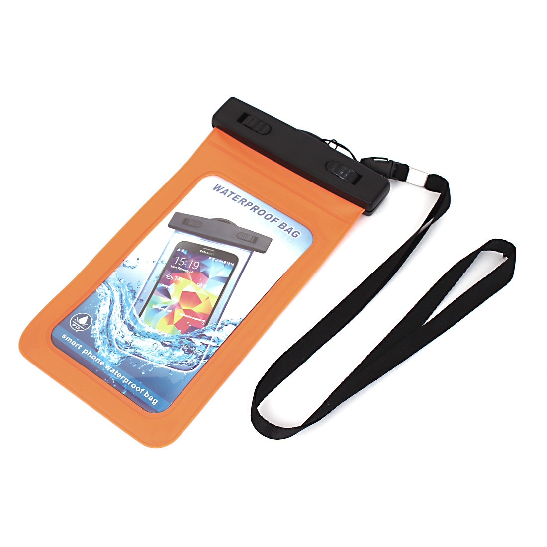 "Unique Bargains Waterproof Bag Holder Pouch Orange for 5.5"" Mobile Phone w Neck Strap"
